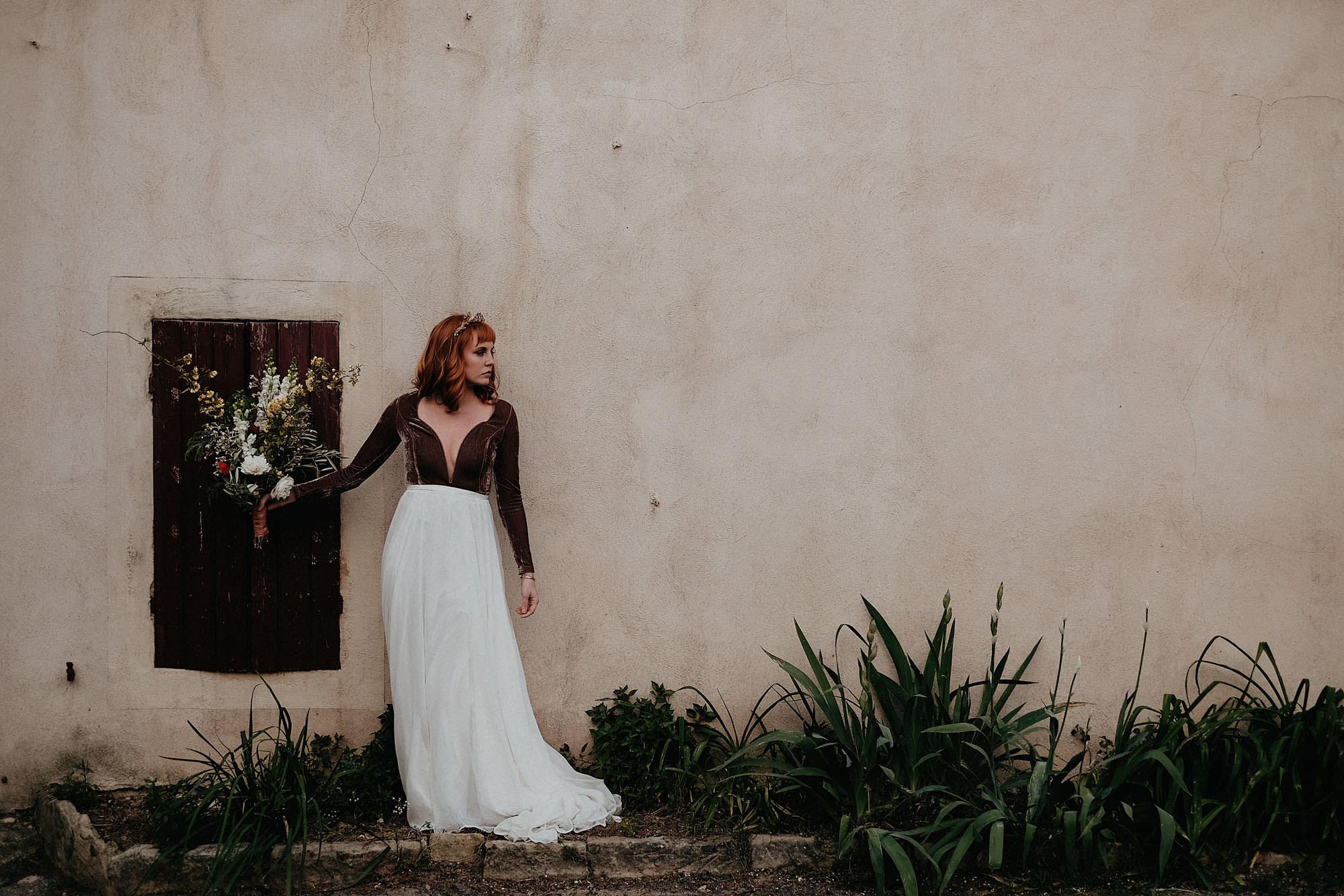 goult provence france elopement vow renewal bride bouquet photo