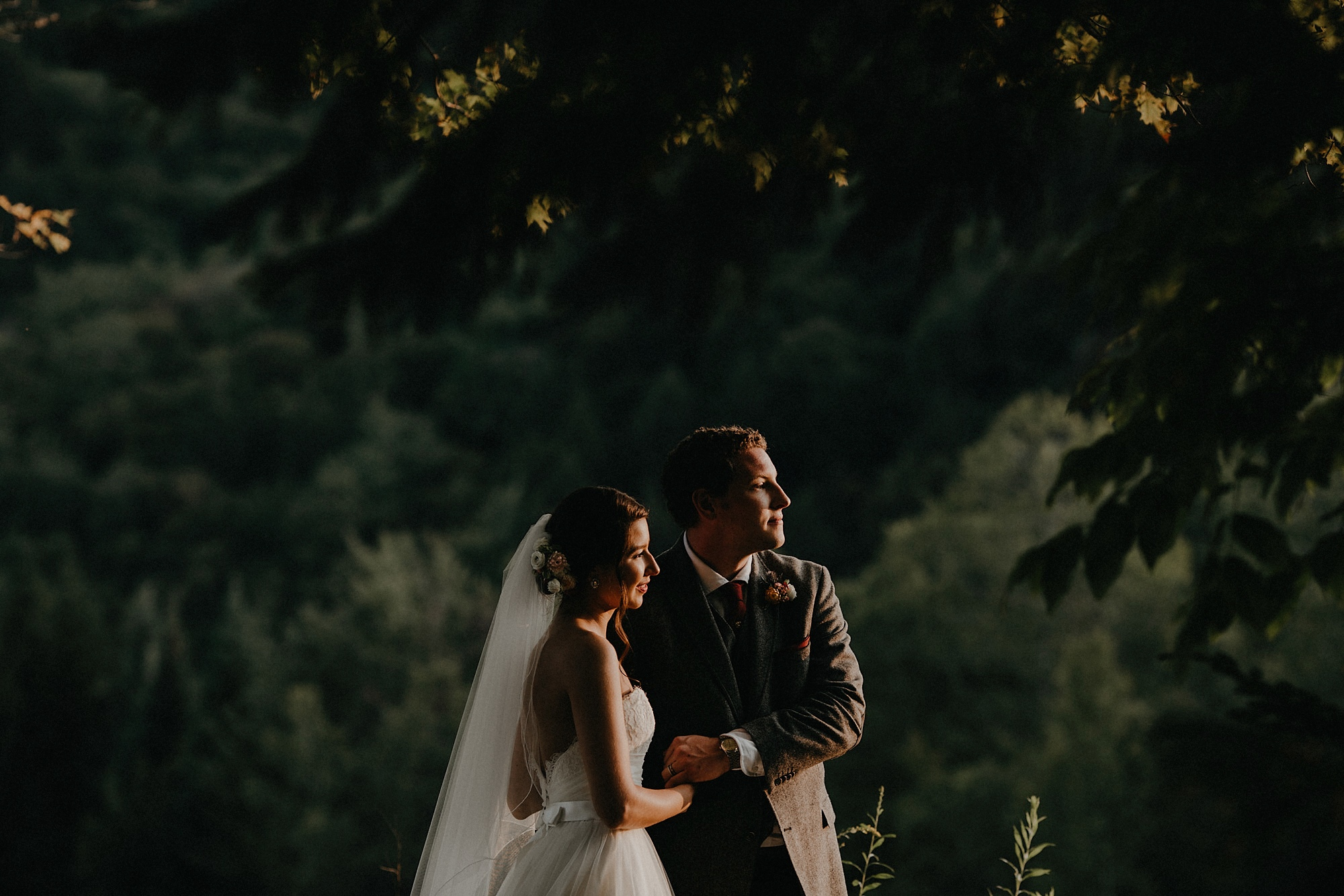 intimate wedding adventure elopement vermont forest sunset portrait photo