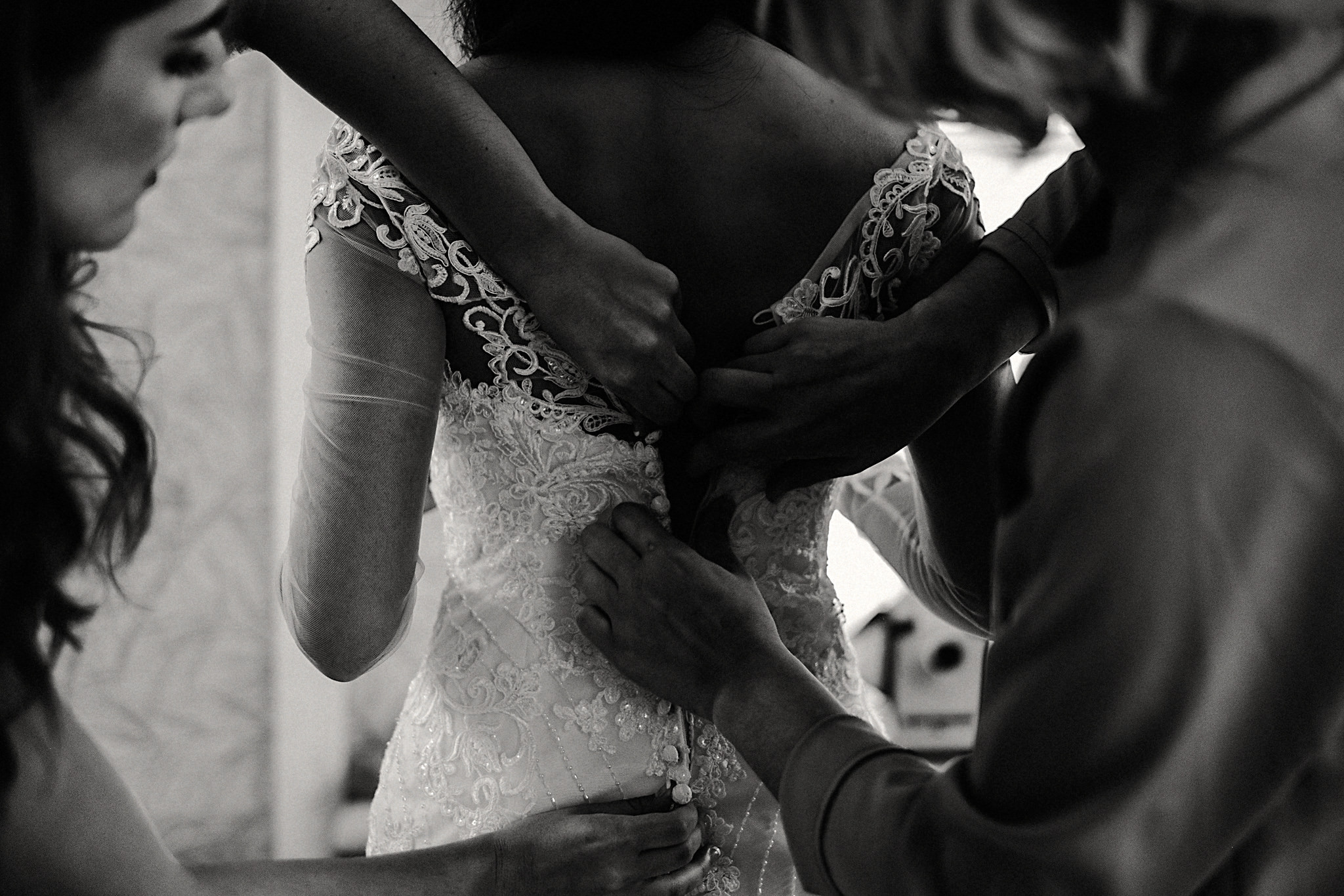 bride getting ready dress black and white