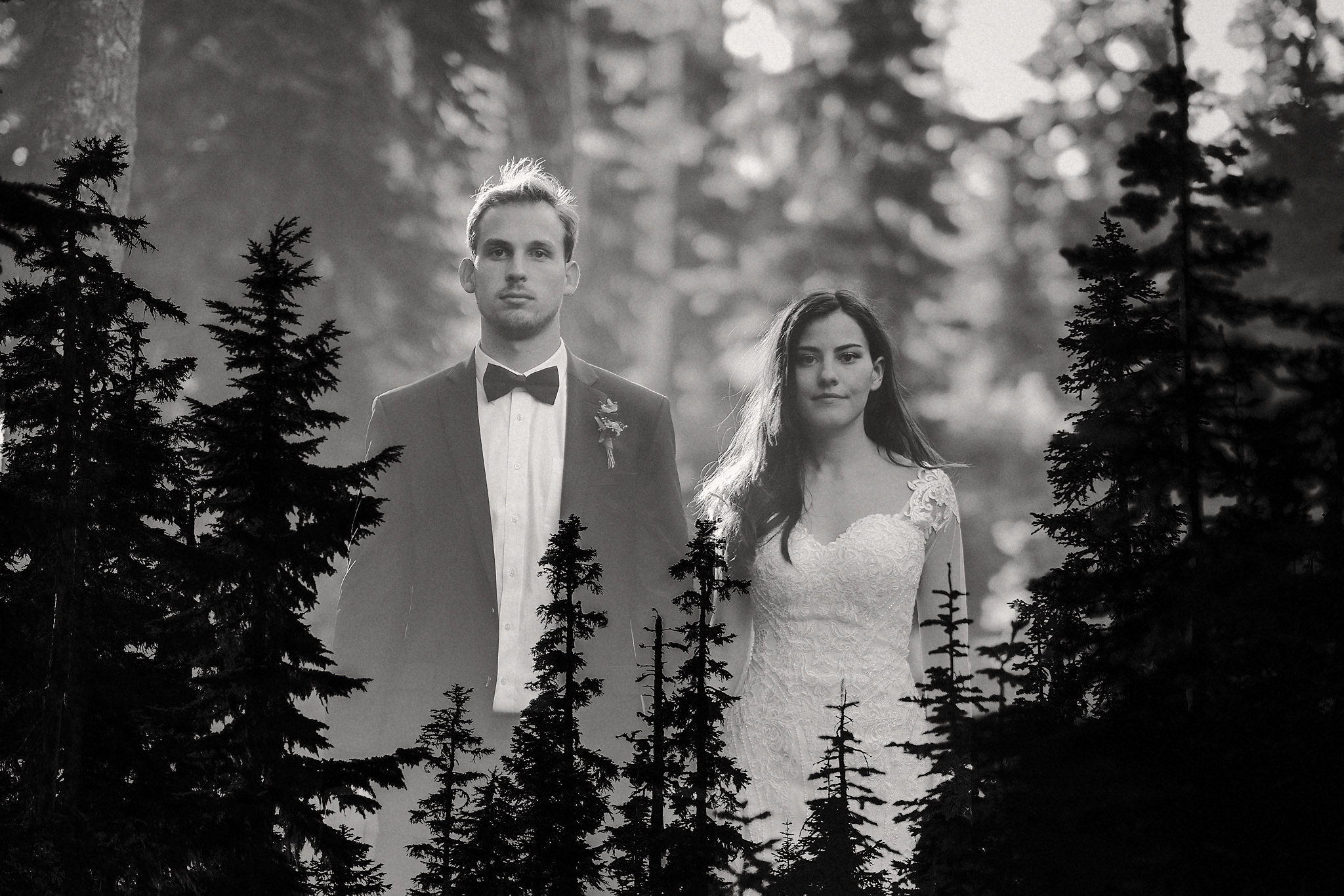 intimate wedding adventure elopement cascade mountains double exposure seattle sunset portrait photo