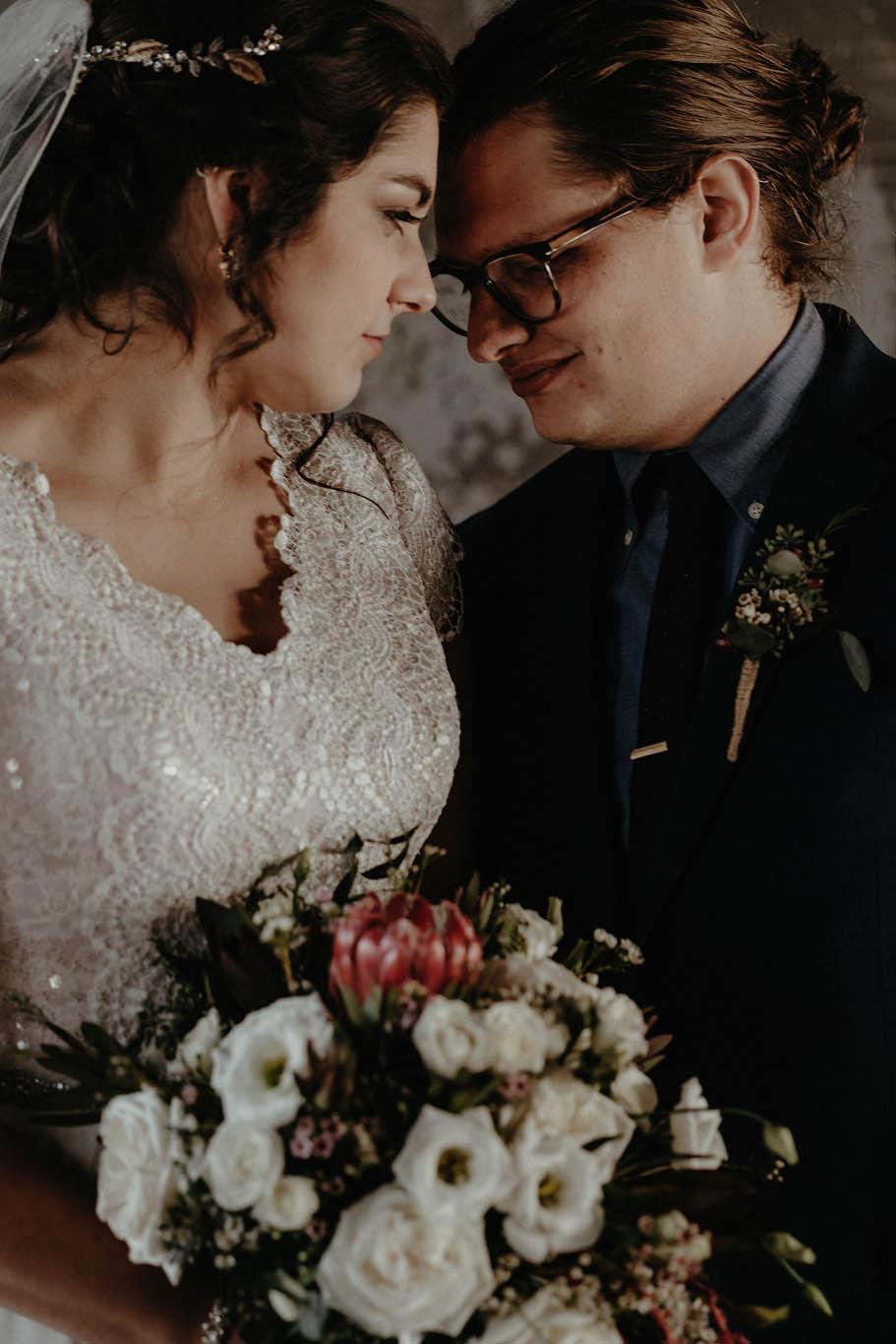 cincinnati warehouse wedding photographer bride and groom portrait