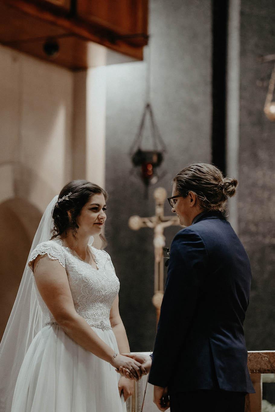 cincinnati warehouse wedding photographer cathedral church ceremony bride smiling
