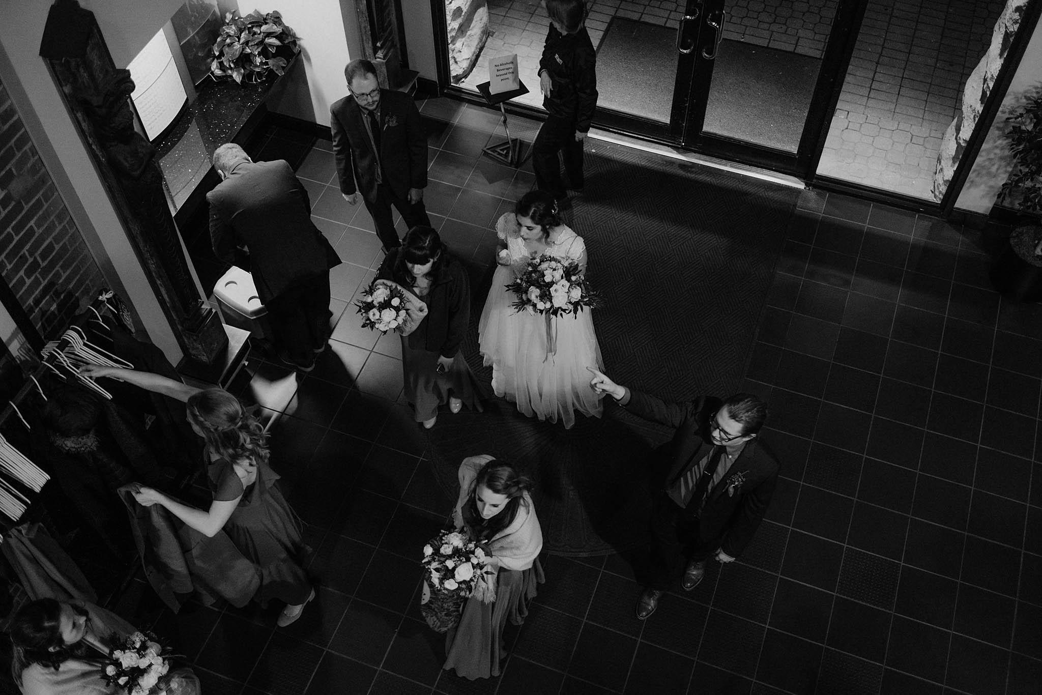 cincinnati warehouse wedding photographer reception balcony photo