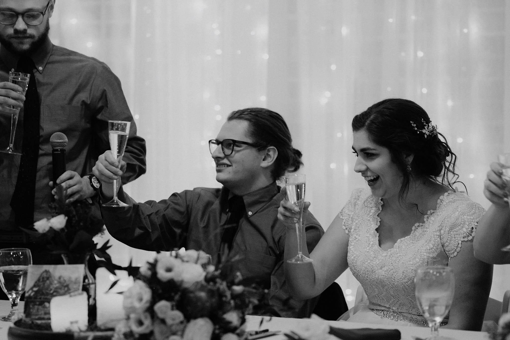 cincinnati warehouse wedding photographer reception groomsmen speech