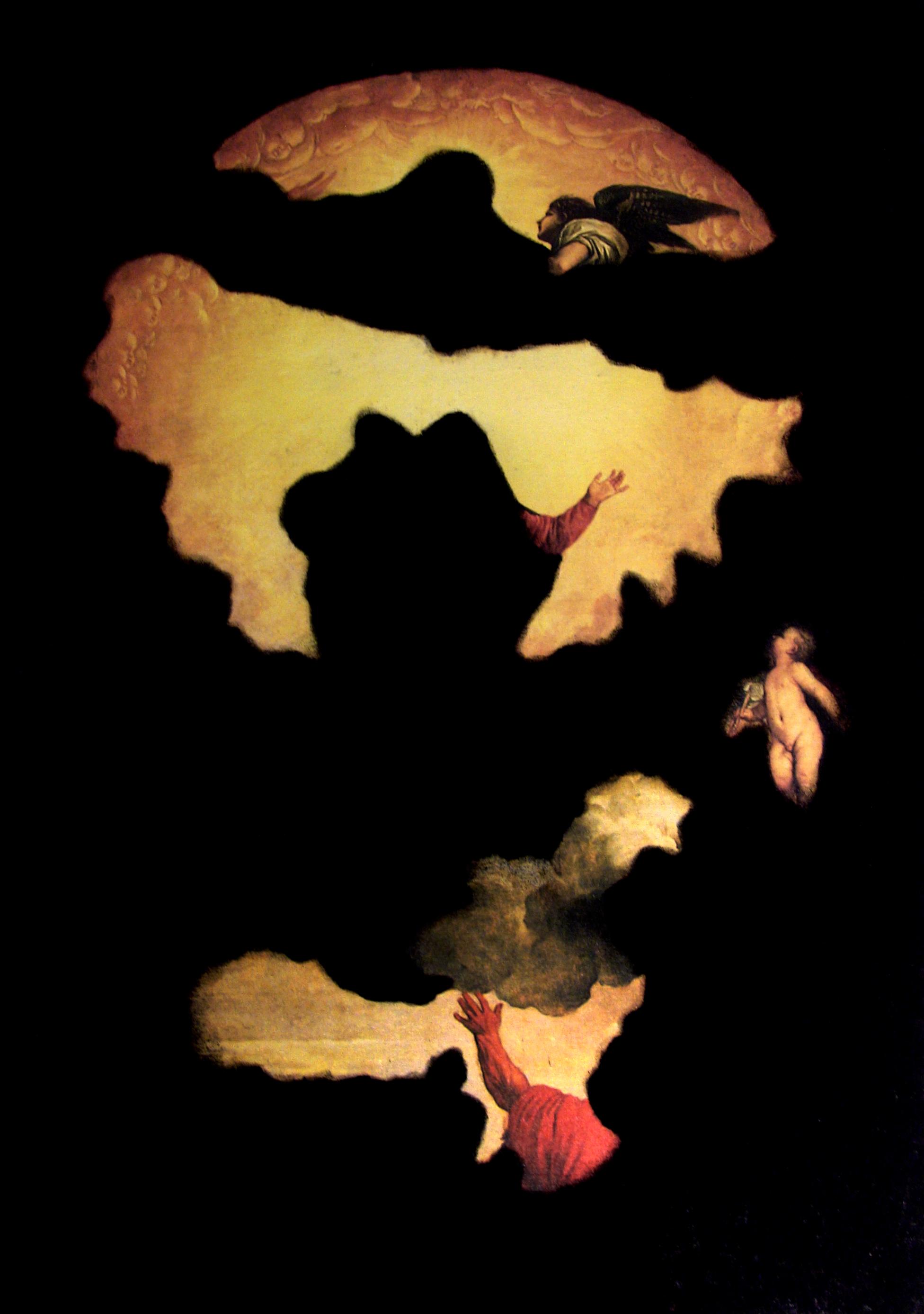 Loris Bellan  Verità, Menzogna, Il Ruolo del Denaro  (particolare) (2011) serigrafia su tela e cenere