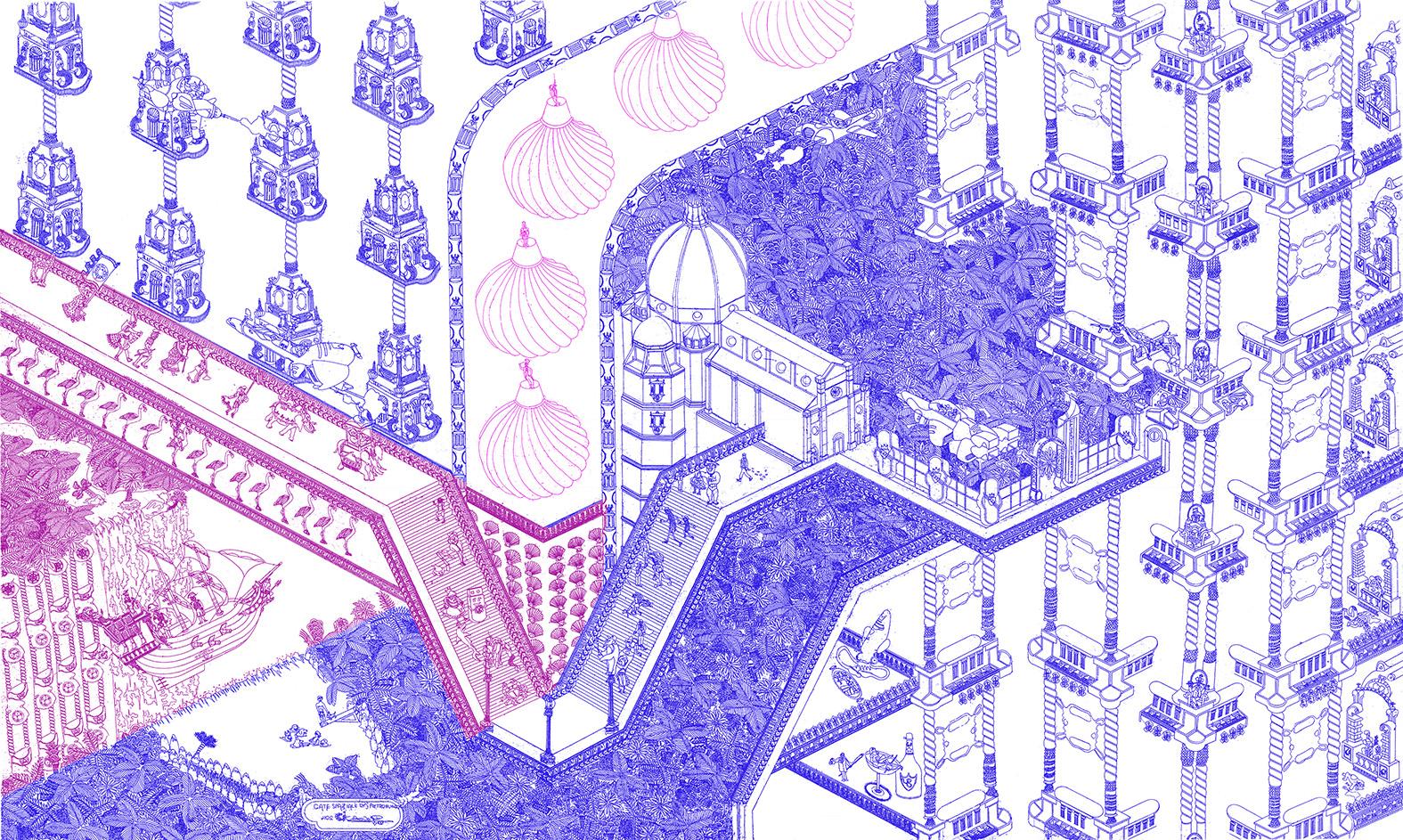Casolari F. - GATE SPAZIALE DI S.PIETROBURGO (inchiostro blu, viola, rosa fluo).jpg