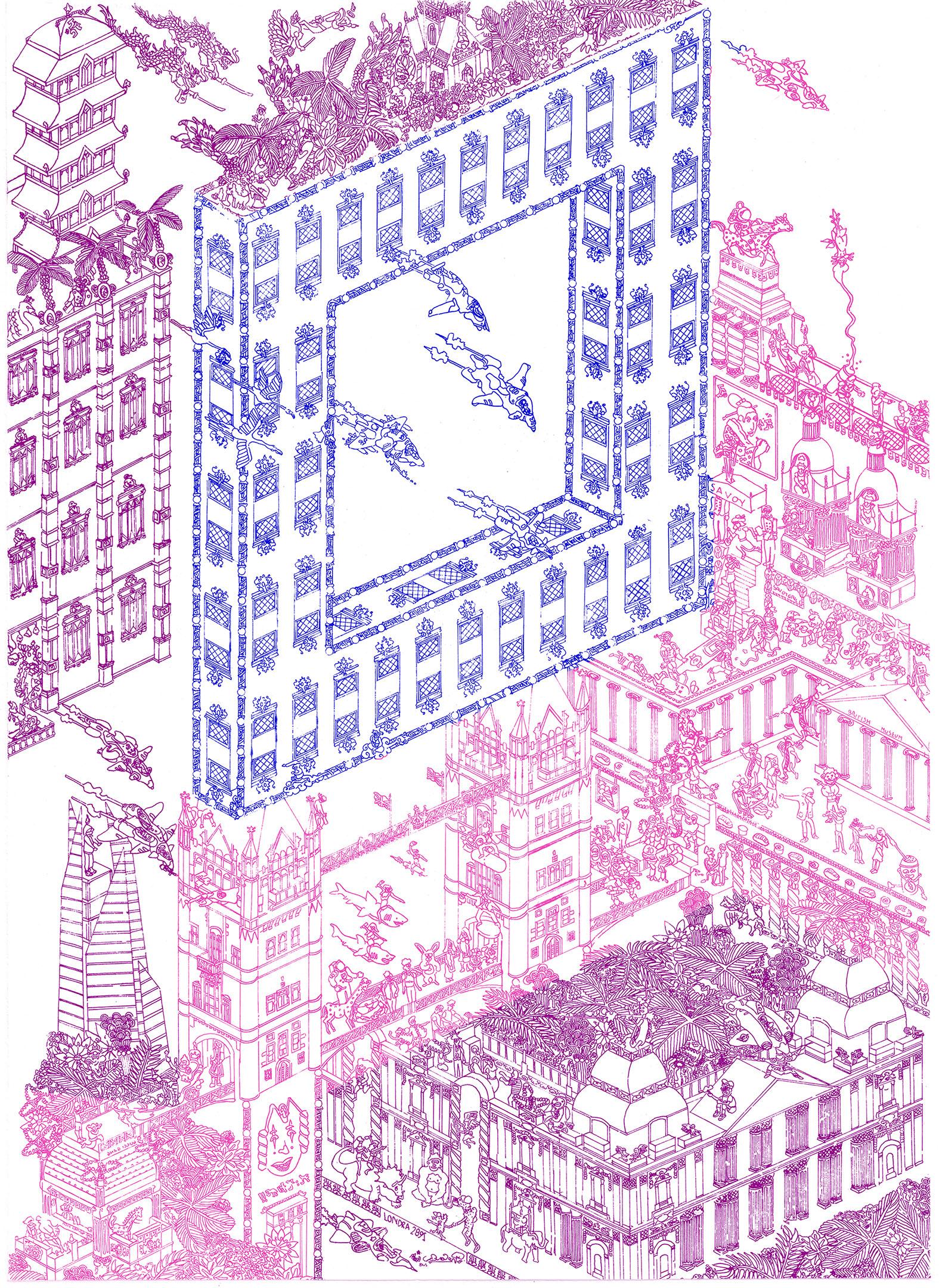 Casolari F. - LONDRA 2891 (inchiostro blu, viola e rosa fluo).jpg