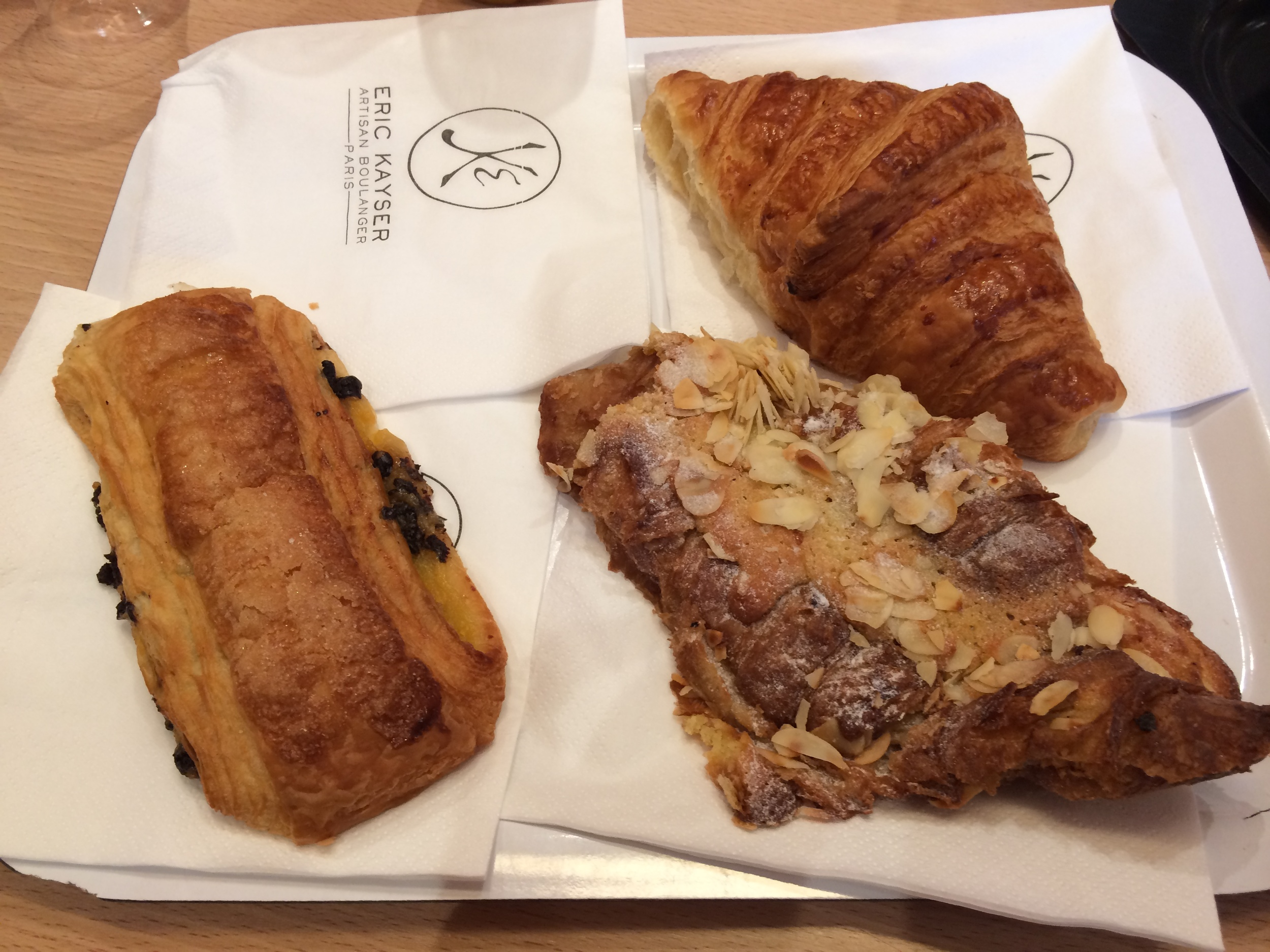 Croissant sampler, from left to right: chocolate, plain, and almond. My family and I had so much fun tasting them!