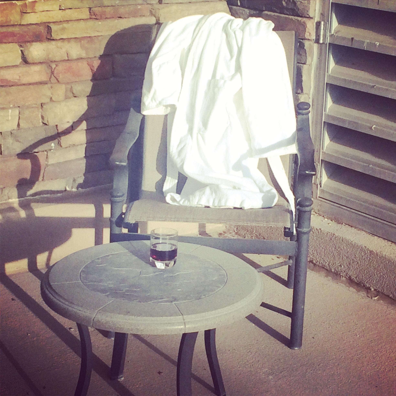 Wine on the patio.