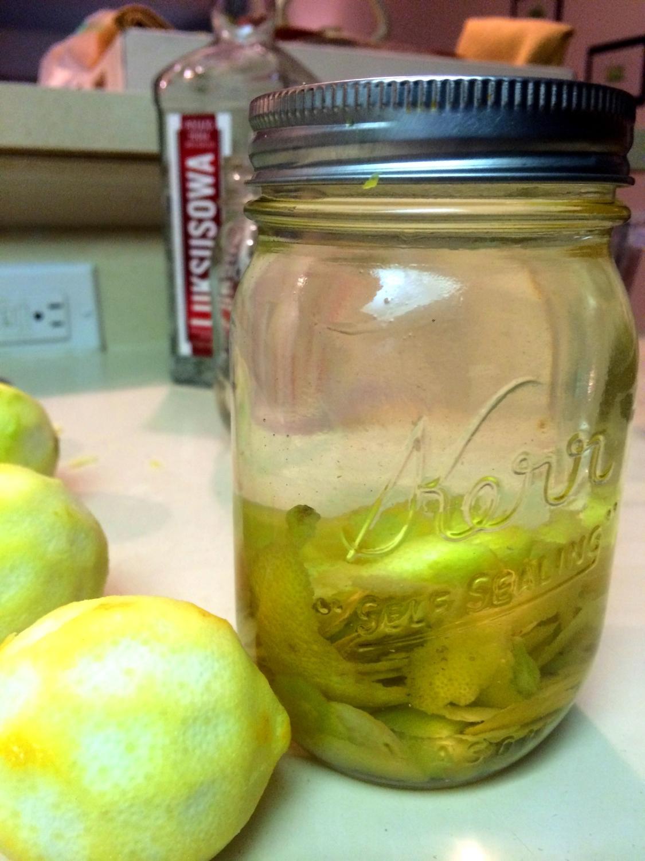 Freshly peeled lemons with peels soaking in vodka...
