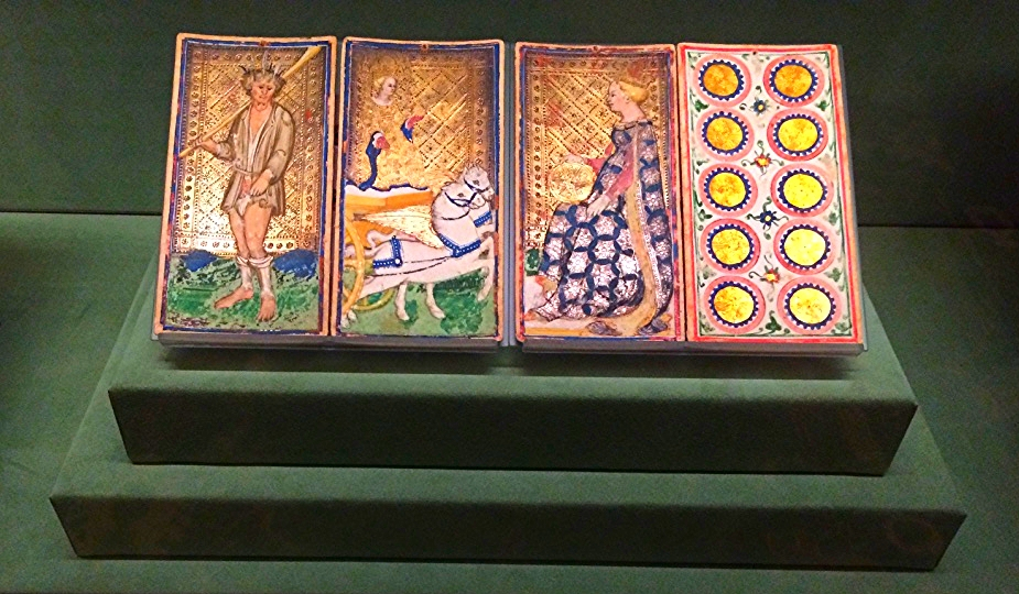 Four Italian tarot cards from before the deck became associated with occult practices (1450).