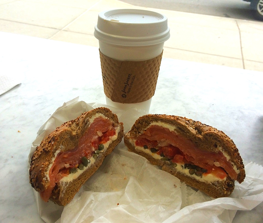 Coffee & lox bagel from Baked in Brooklyn...the perfect way to start my vacation!