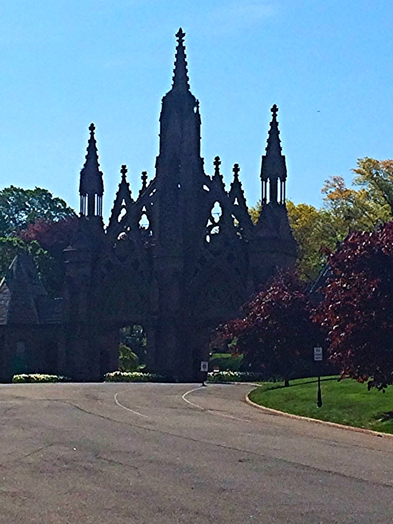 The imposing Gothic entrance to Green-Wood Cemetery.