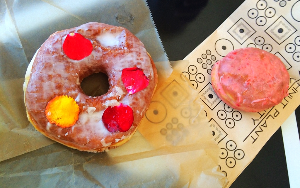 Rose and strawberries 'n cream donuts from Donut Plant.