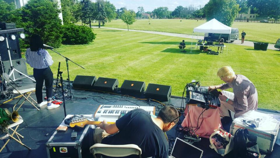 Sound checking at Bohemian National Cemetary in Chicago (opening for Kim Gordon's Boydy/Head -- presented by empty bottle)