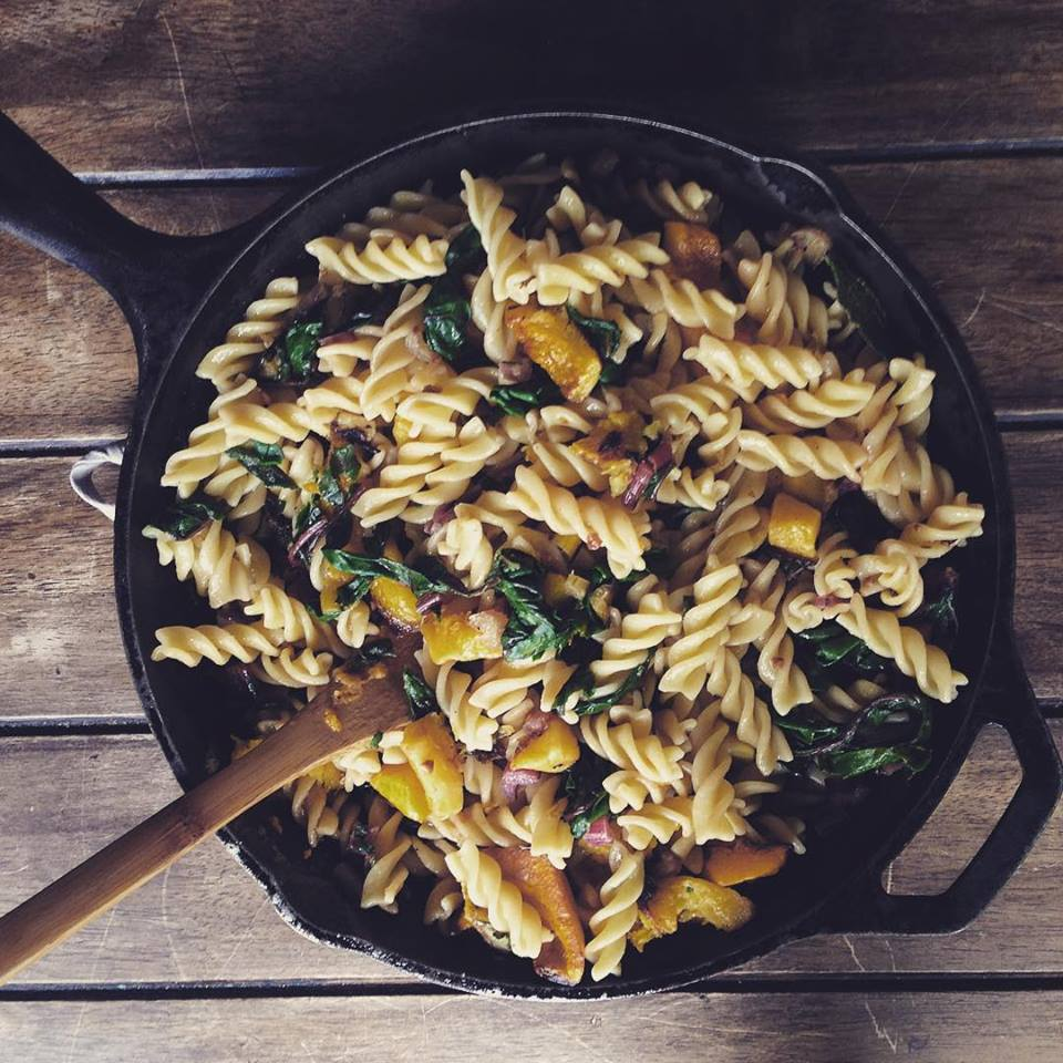 Butternut Squash and Rainbow Chard Pasta with a Garlic and Brown Butter Sage Sauce