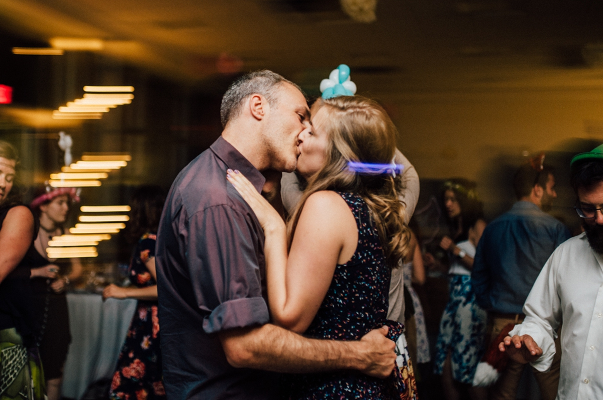 Kissing at Vancouver wedding