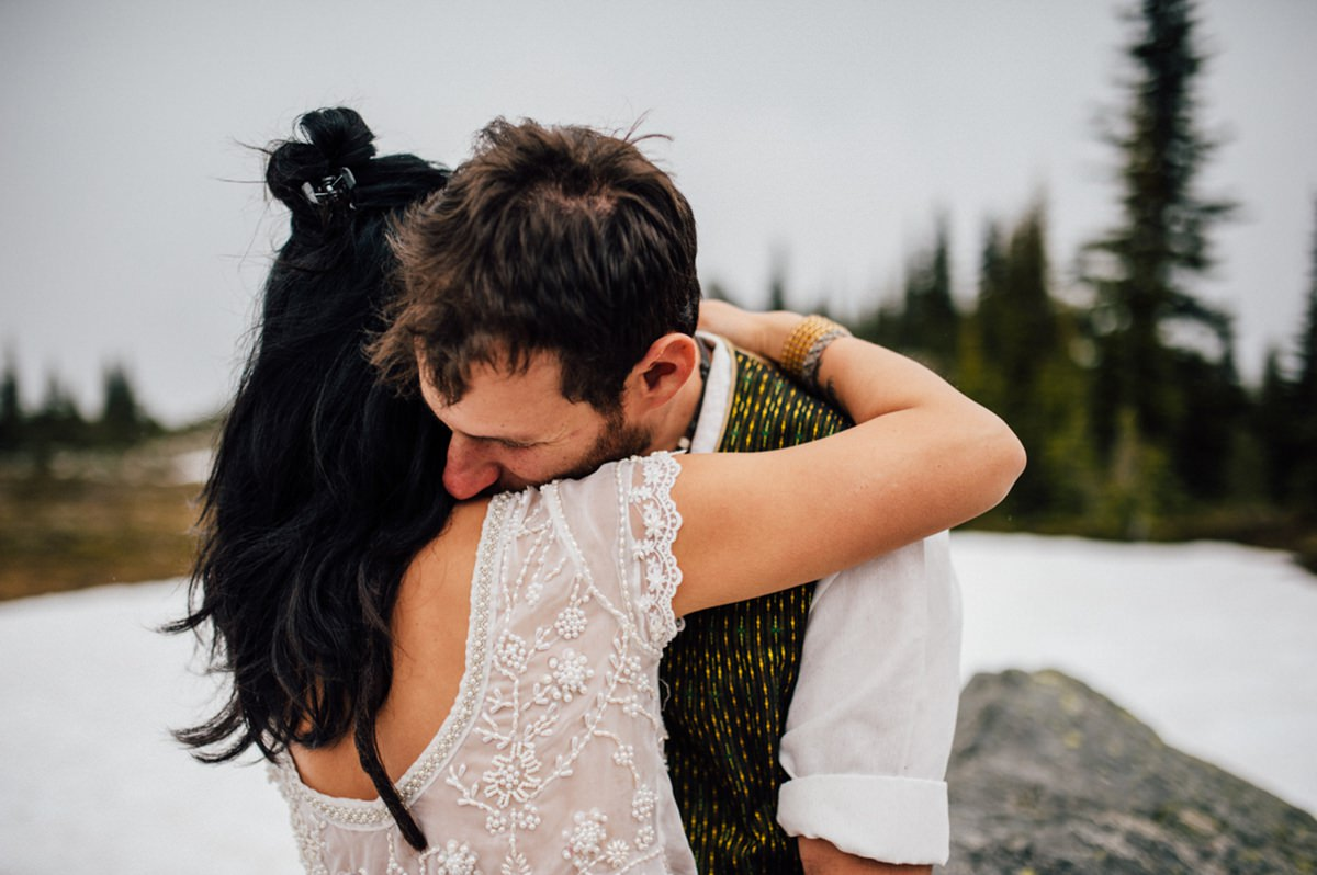 Whimsical mountain elopement