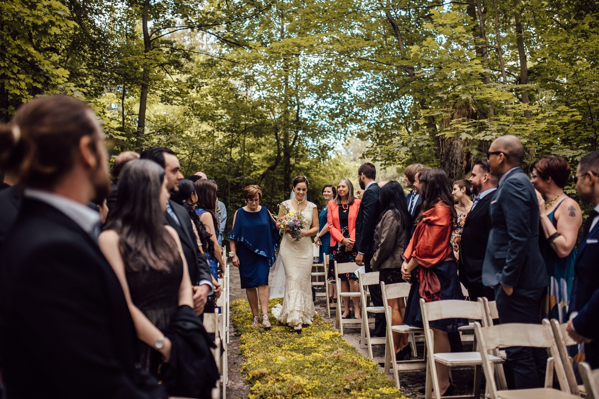unique ceremony with moss