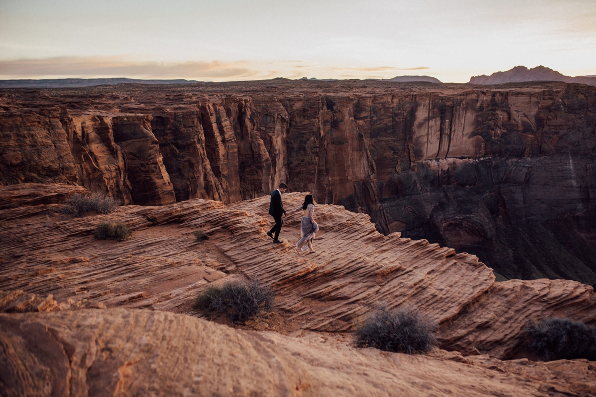 Magical horseshoe bend engagement photos