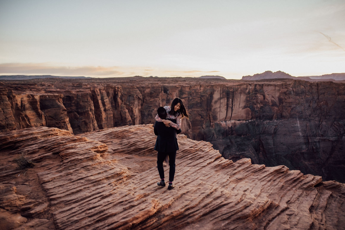 Joyful horseshoe bend engagement session