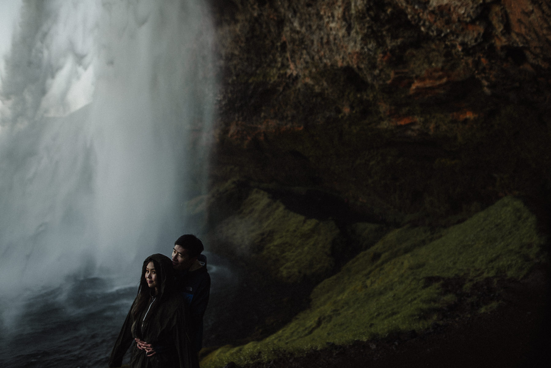 Iceland waterfall engagement