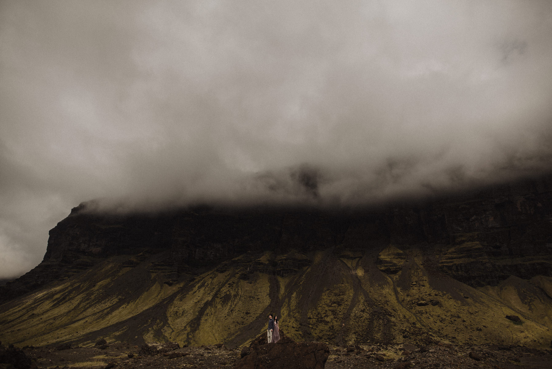foggy Iceland mountain engagement