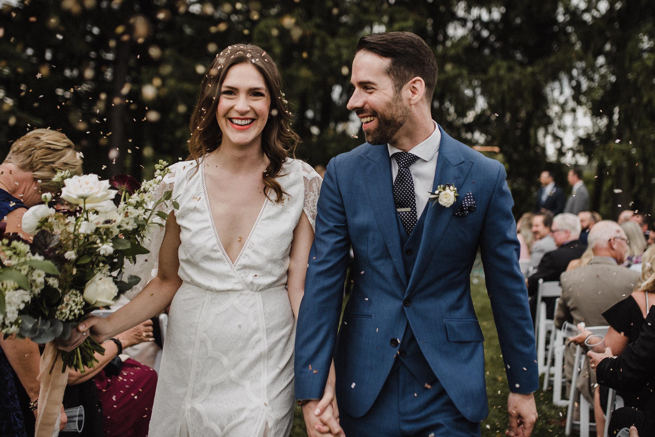 paper confetti at wedding