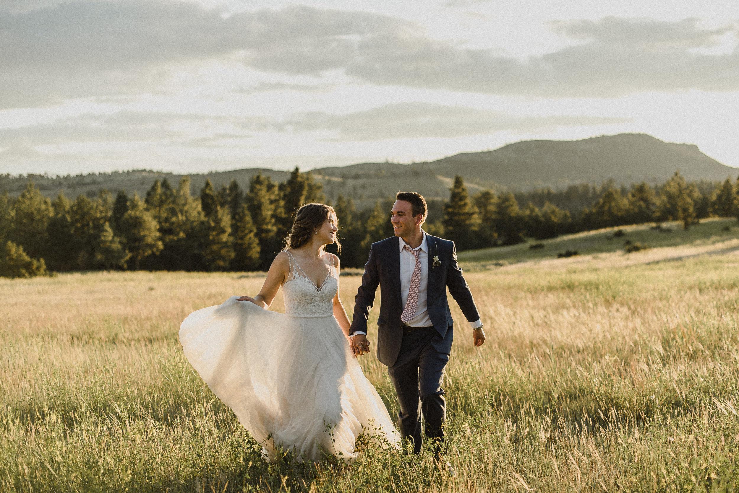 sunset photography at montana wedding