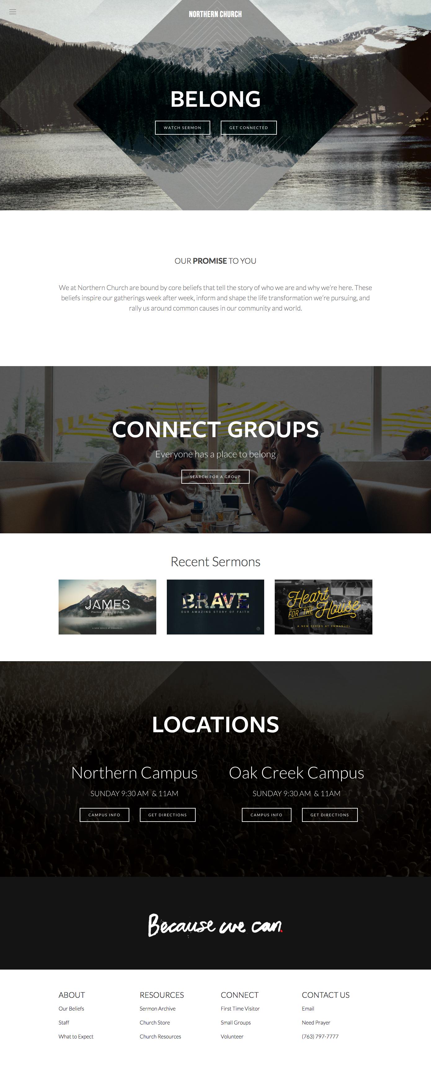 Squarespace Church Template Exapmles Custom Church Website