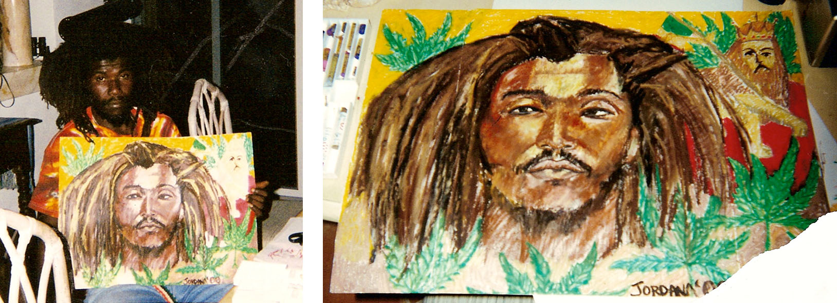 SHABBA     2000 ,  local Rasta from King's Town, Providenciales, Turks and Caicos.  BURNED IN FIRE      Oil pastel on paper