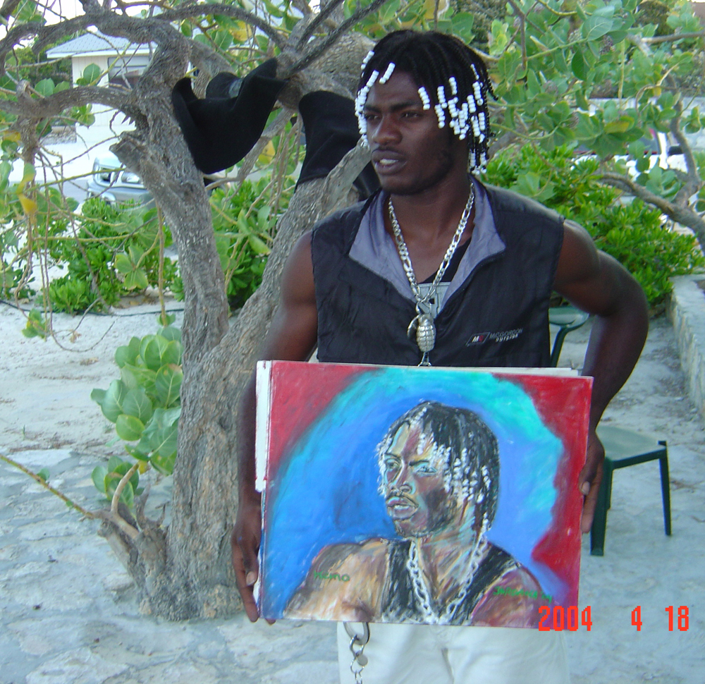 MASTER SHAMP NO. 2  2004    , local from Blue Hills, Providenciales, Turks and Caicos.  GIFT TO MASTER SHAMP    Oil pastel on canvas paper