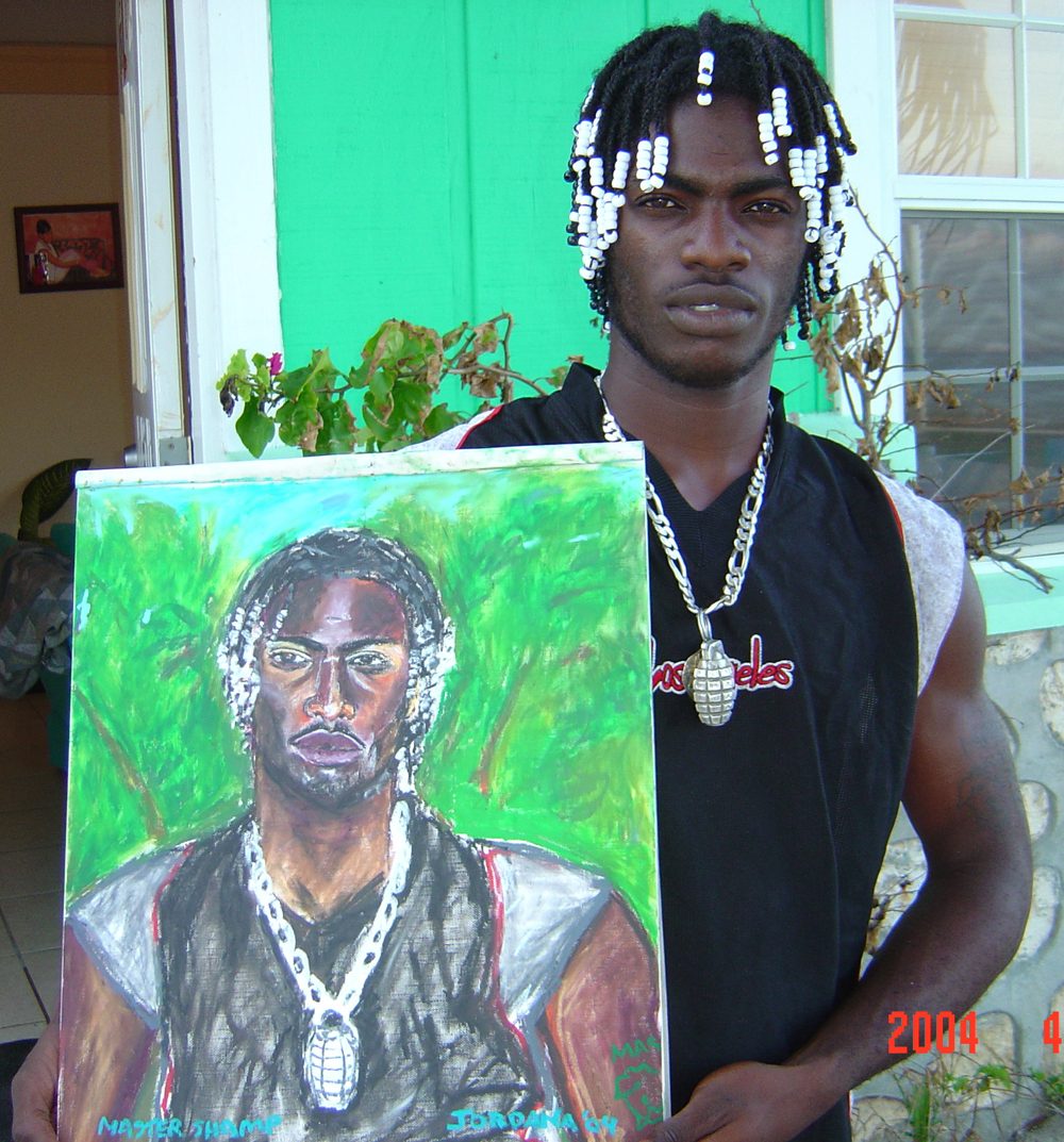 MASTER SHAMP NO. 1    2004,  local from Blue Hills, Providenciales, Turks and Caicos.  GIFT TO MASTER SHAMP    Oil pastel on canvas paper