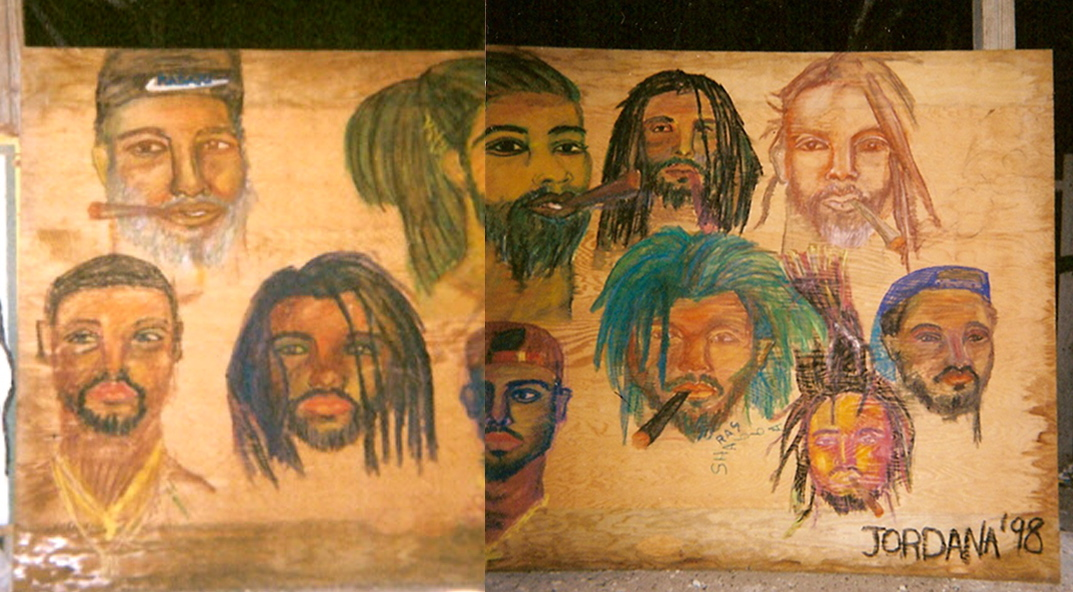 RASTA & BALDHEAD KING'S TOWN MURAL      1998     , The first time I met King Yelo and his family-friends they asked me to draw portraits. When I showed up in King's Town they had this huge piece of plywood maybe 8 ft wide and 4 ft tall. Everyone was shy to sit for me until after the first one -- and then there was a line all day long . . .and fighting between the rastas and baldheads. In the end I painted everyone and spent morning to night, ten portraits in all. King Yelo now tells me, fifteen years later, that I don't have it in me anymore to paint like that. One day soon I'm going to prove him wrong. King's Town, Providenciales, Turks and Caicos.  GIFT TO KING YELO    Watercolor crayon on wood