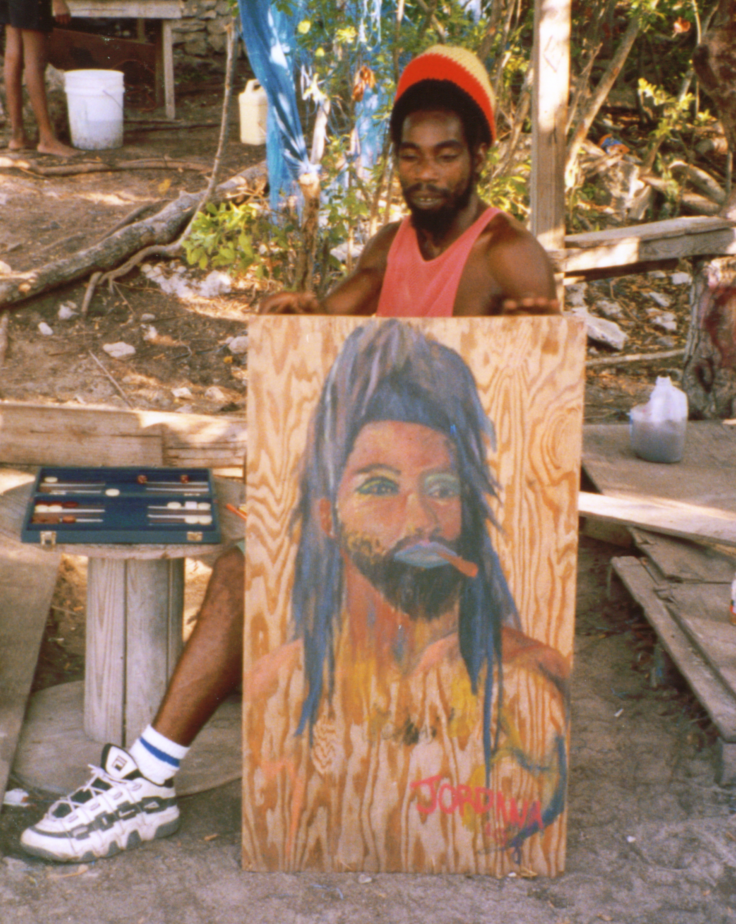 KING YELO   1998  , Head Rasta of King's Town, Providenciales, Turks and Caicos.  GIFT TO KING YELO    Watercolor on wood