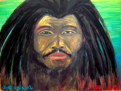 SHABBA    2001,  local Rasta from King's Town, Providenciales, Turks and Caicos.  ARTIST'S COLLECTION    Watercolor crayon on paper