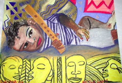 LITTLE LION (Surrounded by Sculptures)   2002 , local Kingston boy, son of famous Jamaican Sculpture artist  Gene Pearson .   GIFT TO GENE PEARSON     Watercolor crayon on paper