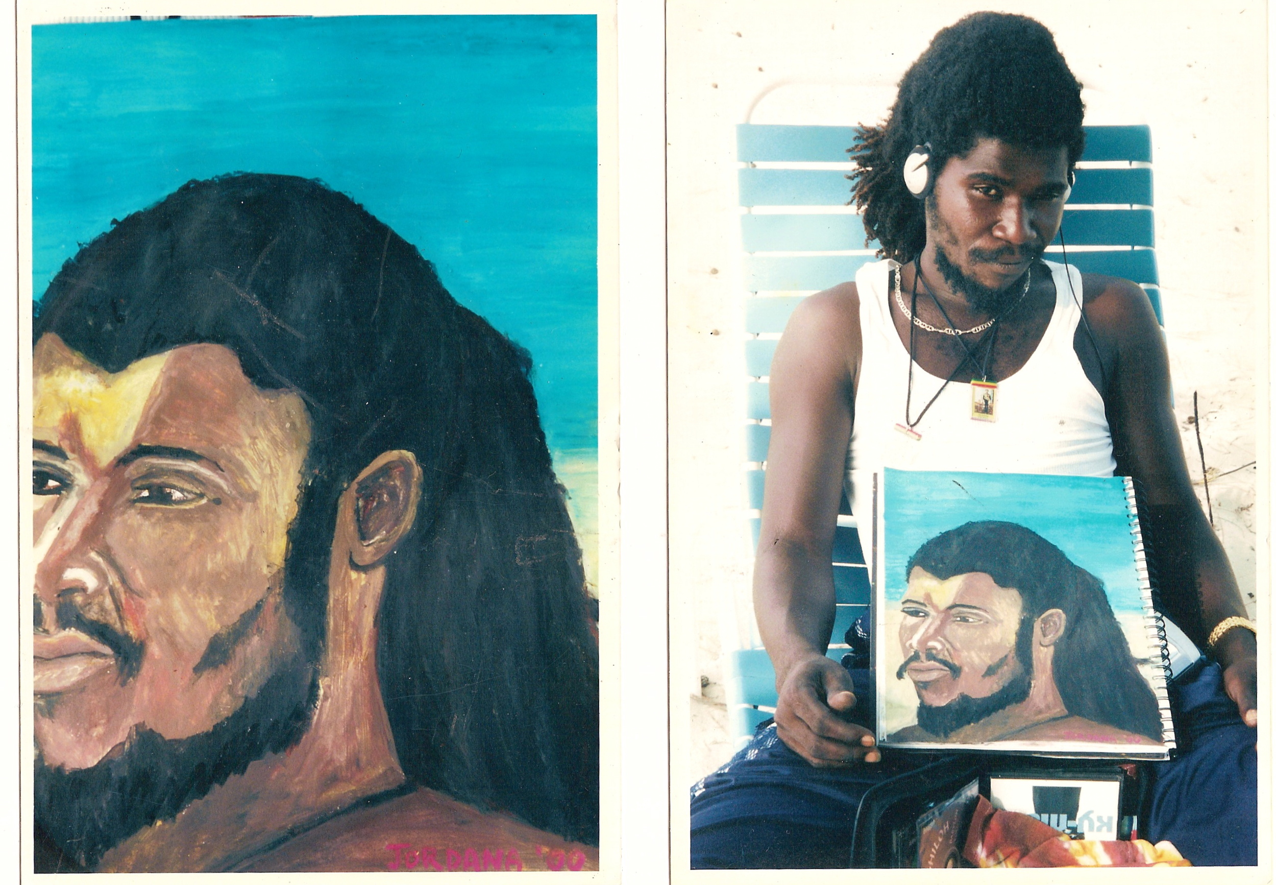 SHABBA ON GRACE BAY BEACH   2000,  local Rasta from King's Town, Providenciales, Turks and Caicos.  BURNED IN FIRE    Watercolor crayon on paper