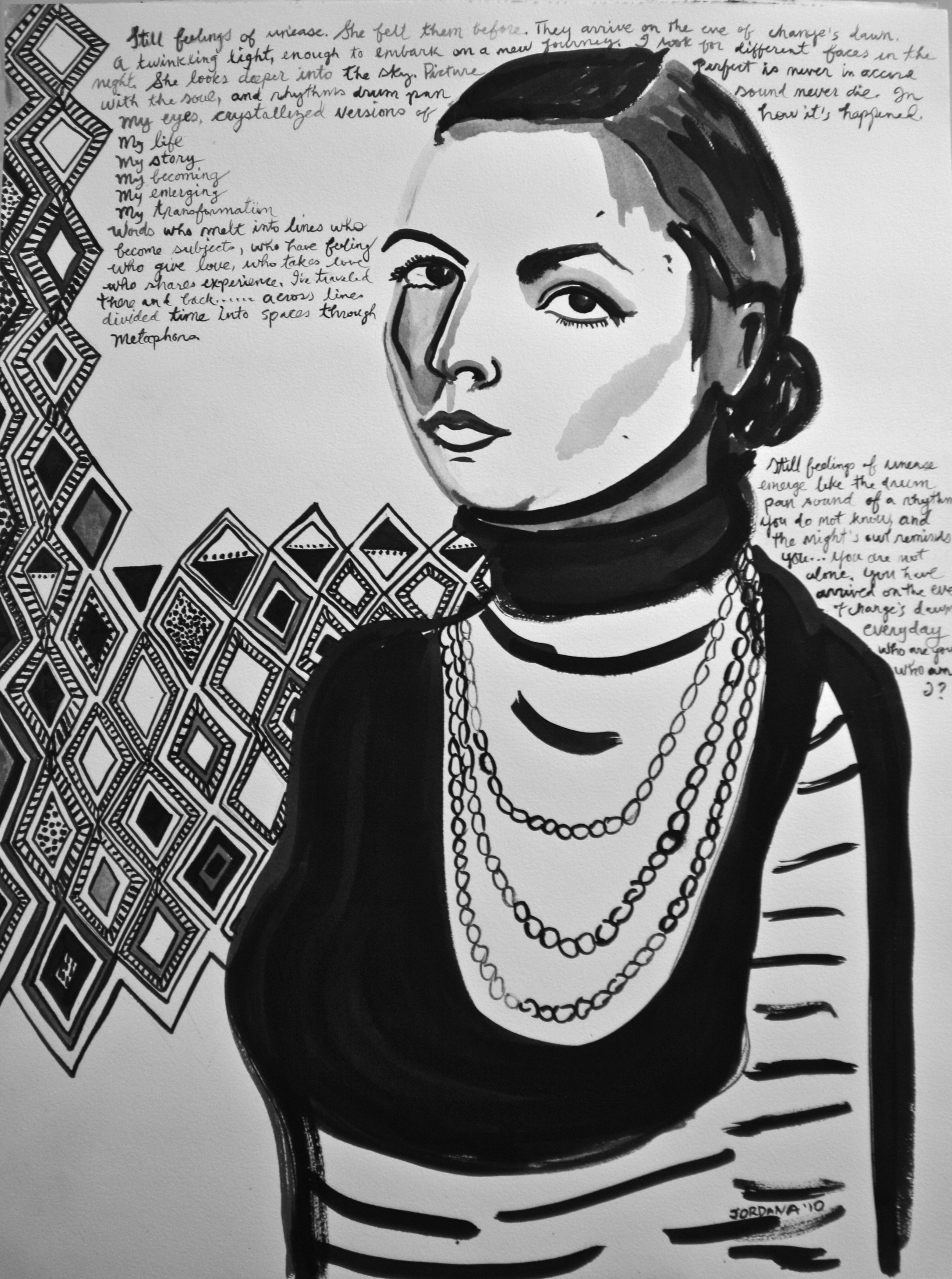SELF-PORTRAIT 2010,  with African textile and prose, NYC.  ARTIST'S COLLECTION    Black ink on paper
