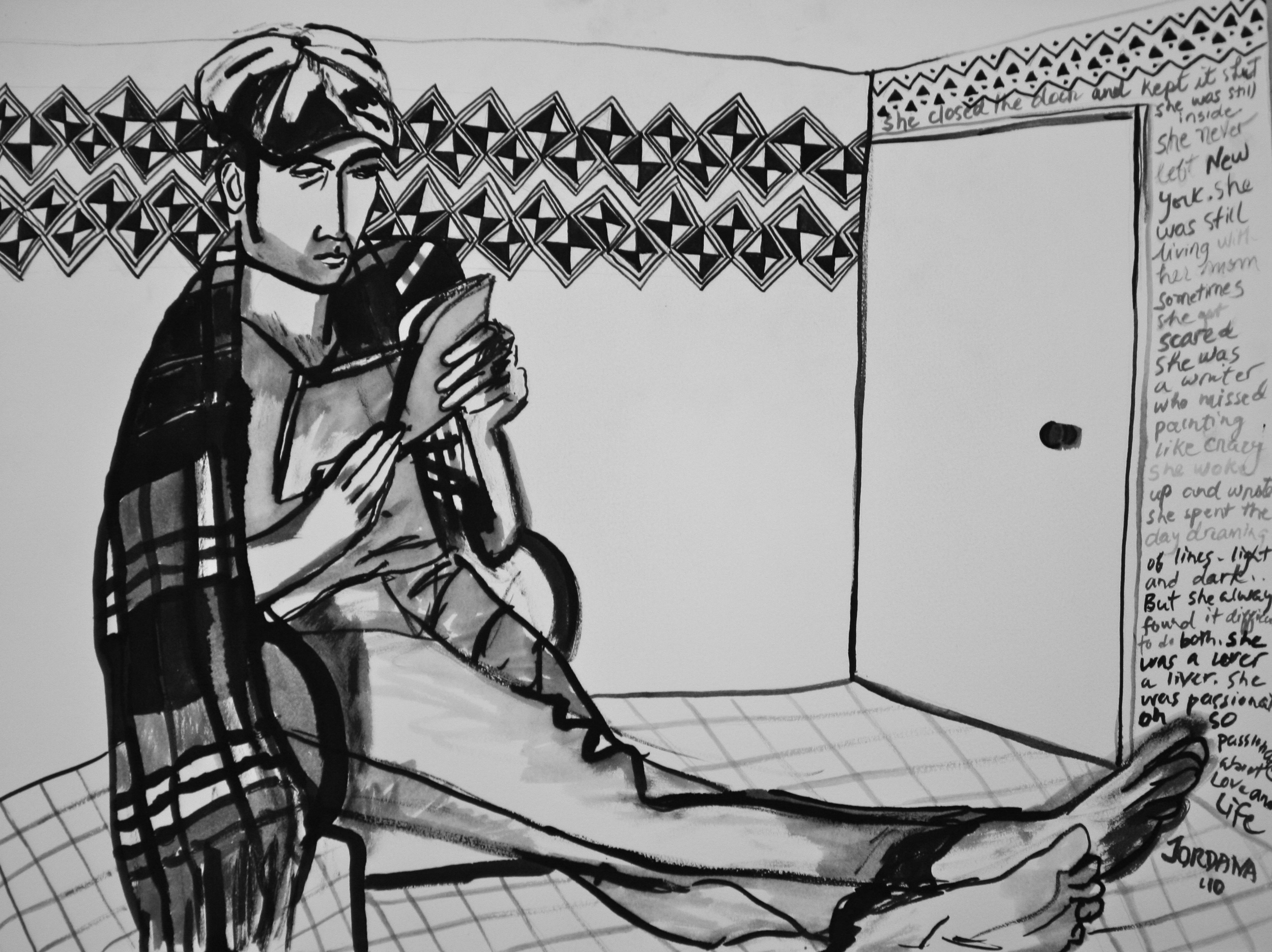 MASSIMILIANO READING WITH BURBERRY SCARF  2010,  with African textile and prose, NYC. ARTIST'S COLLECTION      Black ink on paper