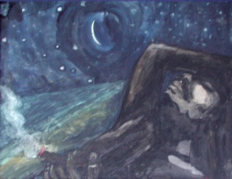 SHABBA & HIS SPLIFF  2000,   painted in NYC after a fire in my apartment in Manhattan and after spending a month in Turks & Caicos - reflecting on a moment - that laying on the beach under the stars can truly only be shared with yourself and your God.  ARTIST'S COLLECTION      Watercolor on canvas