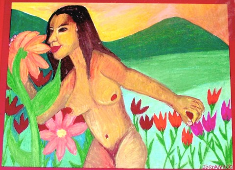 """BEAUTY  2000,  first of the nymph and nature series, and the beginning of my journey of """"self-discovery"""". Painted in NYC.  GIFT TO MY FIRST SERIOUS BOYFRIEND. HE GAVE IT BACK TO ME WHEN I BROKE UP WITH HIM. ARTIST'S COLLECTION."""