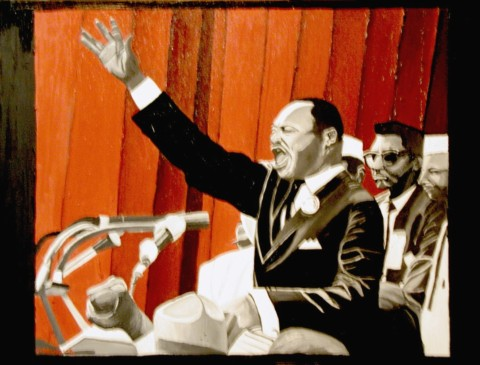 DR. KING JR.  2001,  I loved to paint Martin Luther King and was commissioned to paint him with the columns red in the background.  SOLD    oil on canvas
