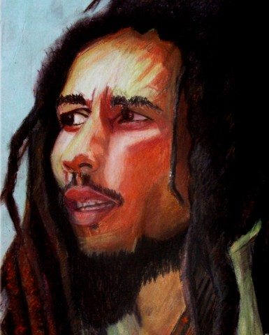 BOB MARLEY  1998,  He is someone I greatly admire. Drawn in Boulder, Colorado. GIFT TO KEVIN    Pastel on cardboard