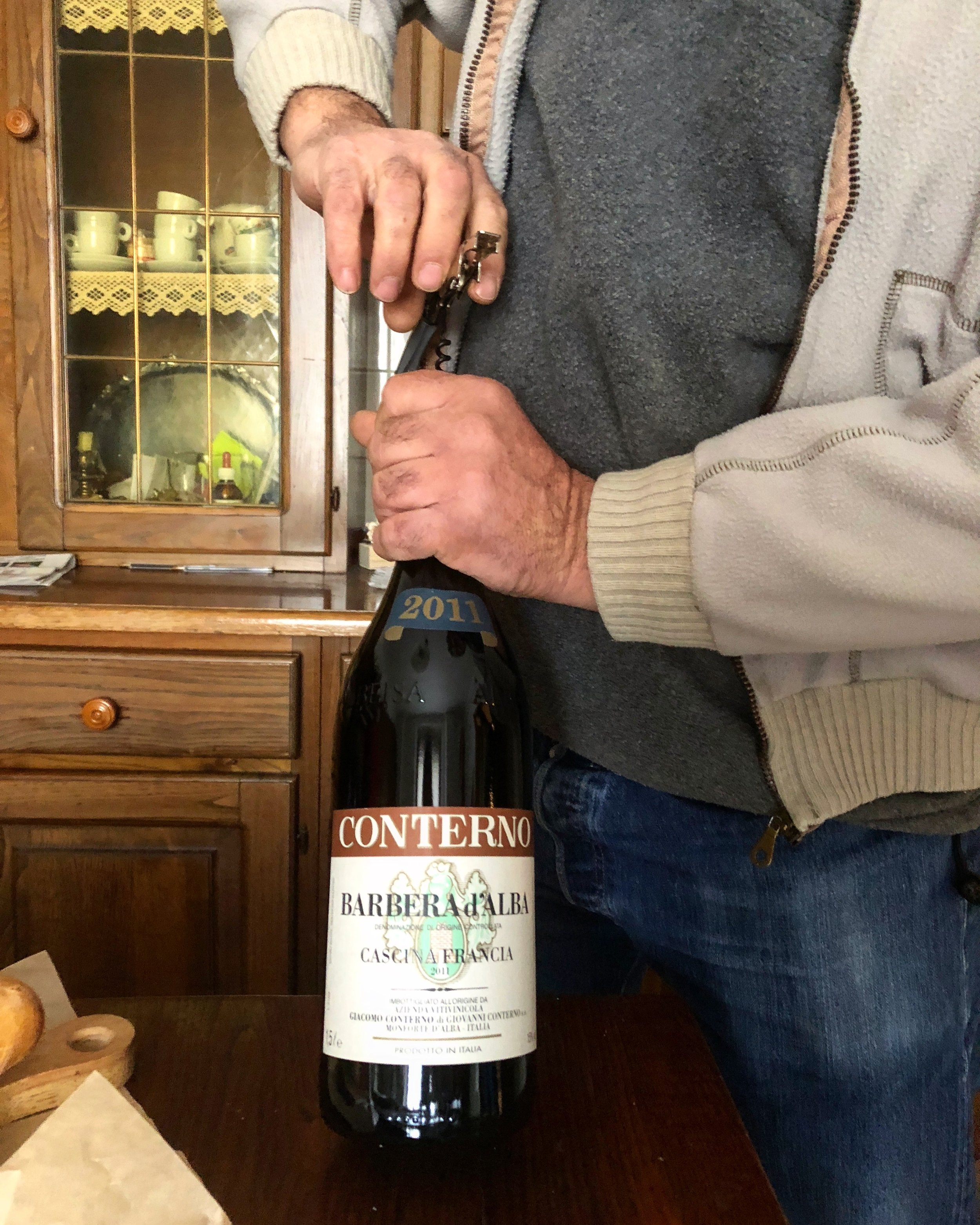 Lunch with winemakers opening older vintage magnums from the cel