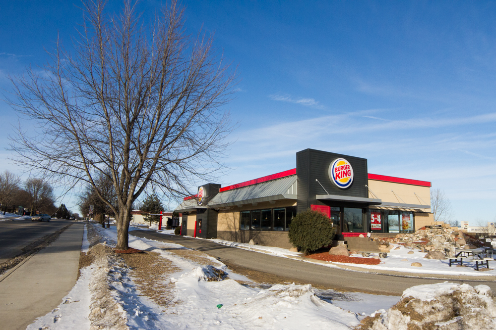 Street side, real estate, Burger King restaurant, real estate