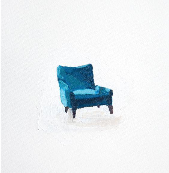 """Chair 2"" 7x9 in. Acrylic on Paper via  JOHN AZONI"