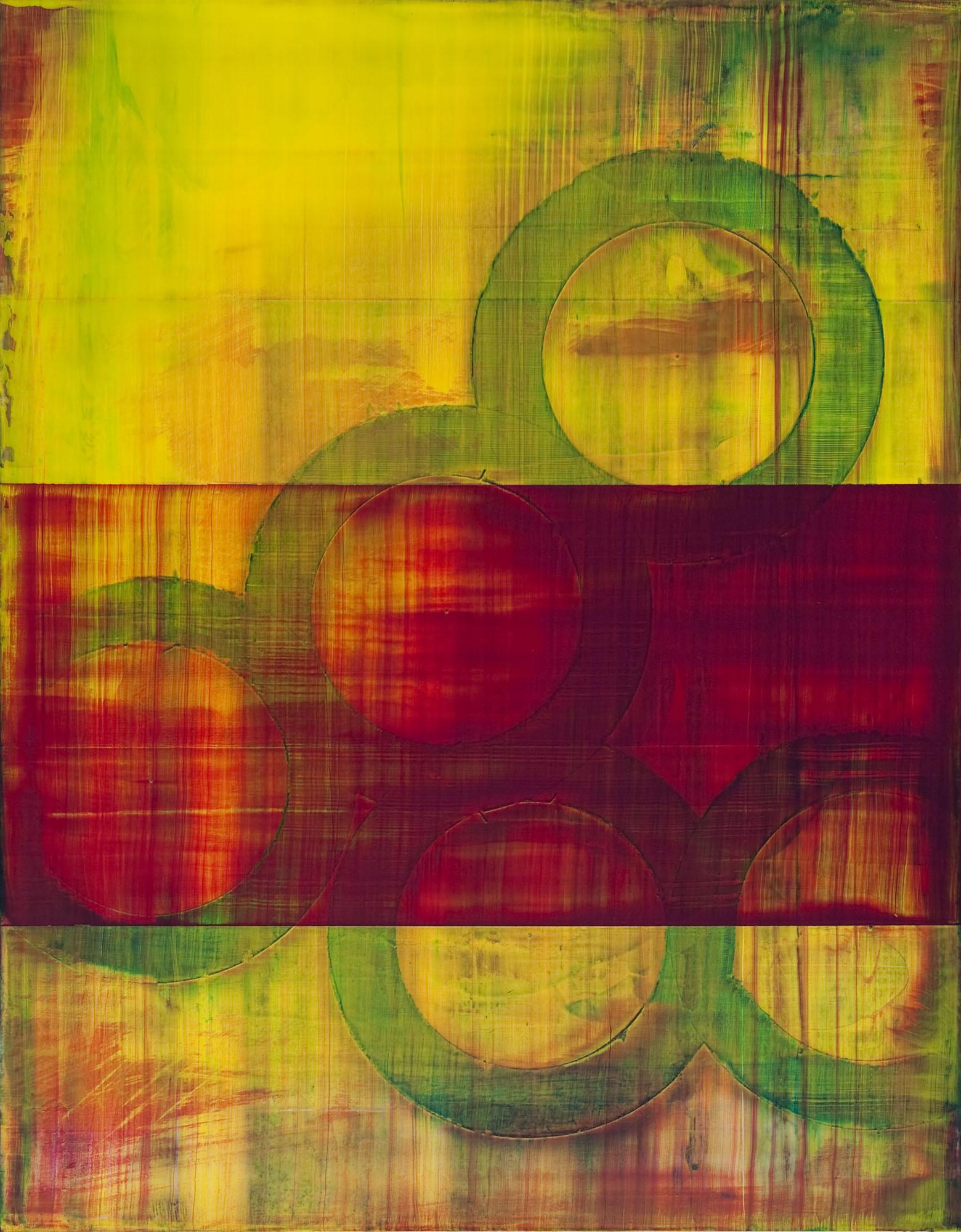 "finite impulse   2014  acrylic on panel  14"" x 11"""