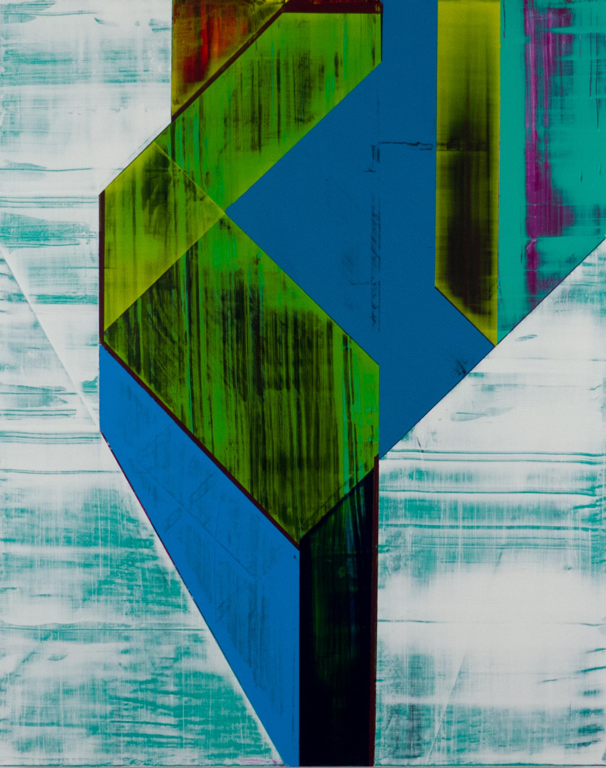 "subsampling   2019  acrylic on panel  20"" x 16"""