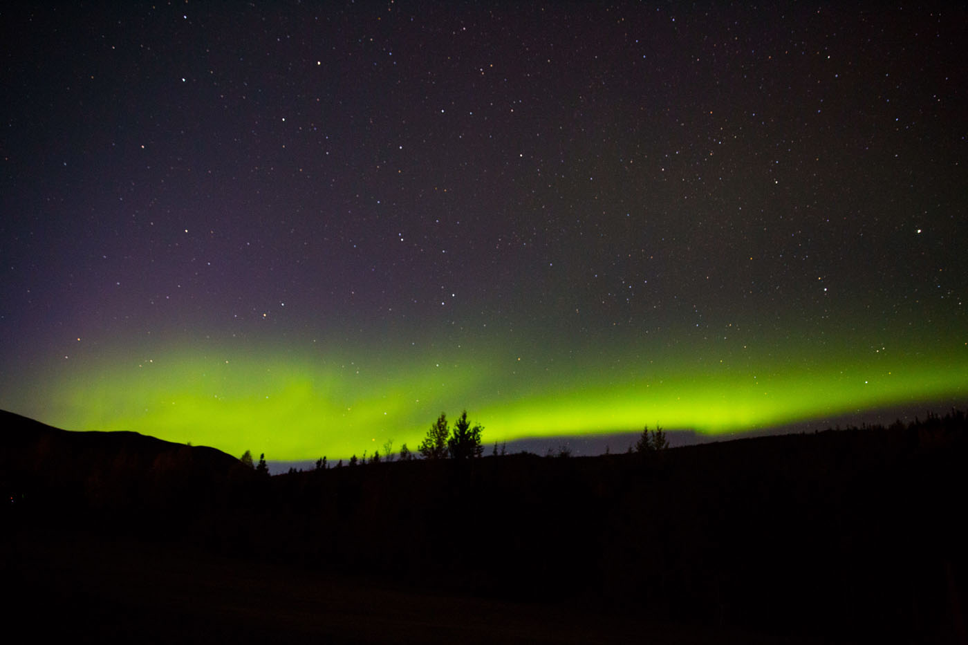 Trying to capture the northern lights without a tripod was a little difficult but I managed to capture a couple.